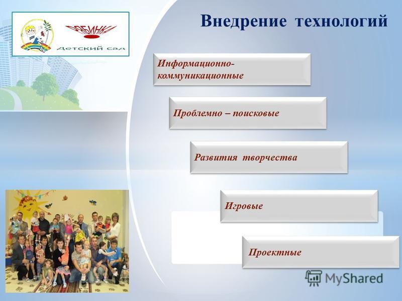 Внедрение технологий Информационно- коммуникационные Информационно- коммуникационные Проблемно – поисковые Проблемно – поисковые Развития творчества Игровые Проектные