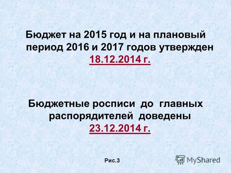 Бюджет на 2015 год и на плановый период 2016 и 2017 годов утвержден 18.12.2014 г. Бюджетные росписи до главных распорядителей доведены 23.12.2014 г. Рис.3