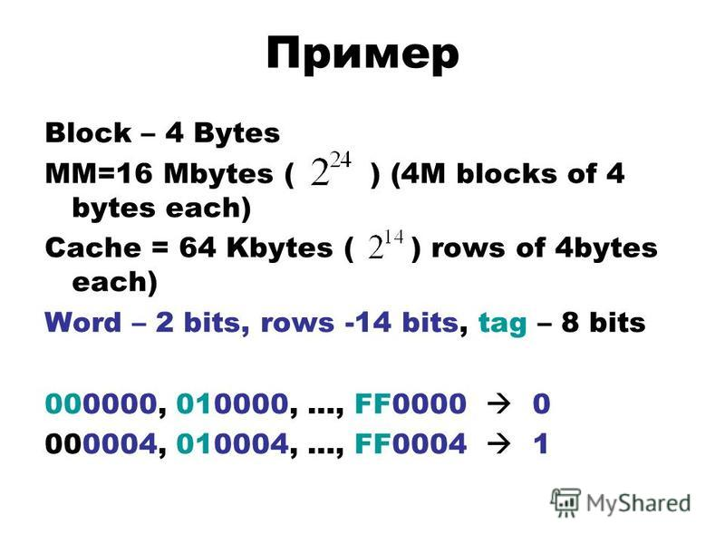 Пример Block – 4 Bytes MM=16 Mbytes ( ) (4M blocks of 4 bytes each) Cache = 64 Kbytes ( ) rows of 4bytes each) Word – 2 bits, rows -14 bits, tag – 8 bits 000000, 010000, …, FF0000 0 000004, 010004, …, FF0004 1