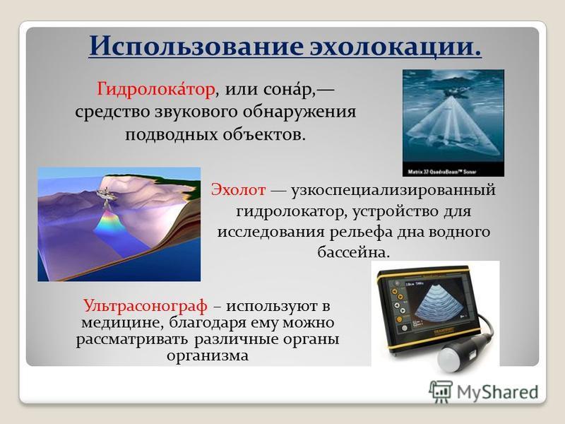 Использование эхолокации. Ультрасонограф – используют в медицине, благодаря ему можно рассматривать различные органы организма Гидролока́тор, или сона́р, средство звукового обнаружения подводных объектов. Эхолот узкоспециализированный гидролокатор, у