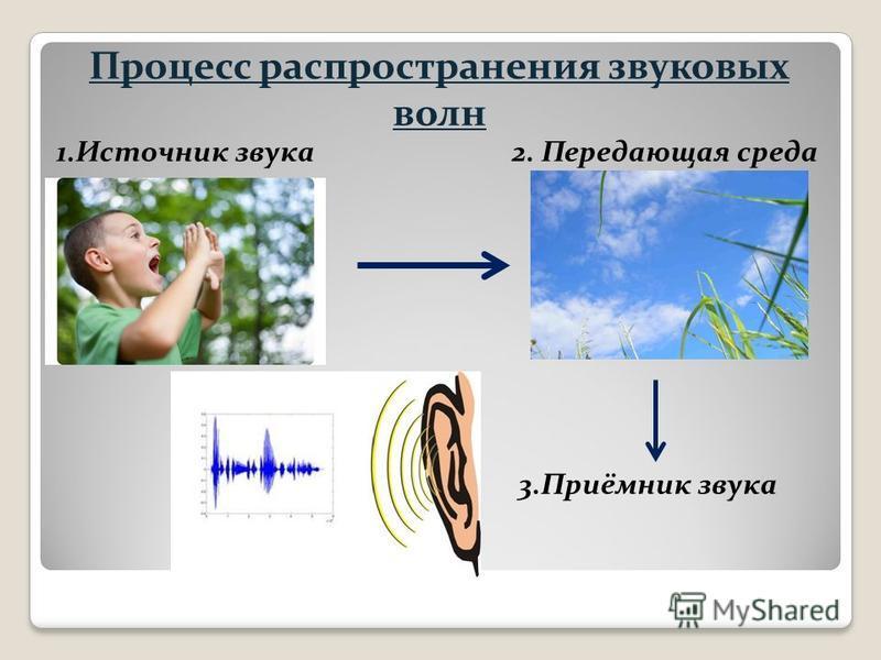 Процесс распространения звуковых волн 1. Источник звука 3.Приёмник звука 2. Передающая среда