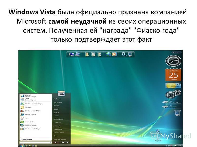 Windows Vista была официально признана компанией Microsoft самой неудачной из своих операционных систем. Полученная ей награда Фиаско года только подтверждает этот факт
