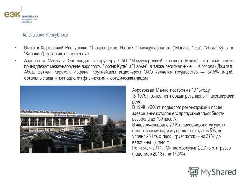 Всего в Кыргызской Республике 11 аэропортов. Из них 4 международные (