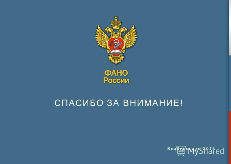 Владивосток, 2015 СПАСИБО ЗА ВНИМАНИЕ!