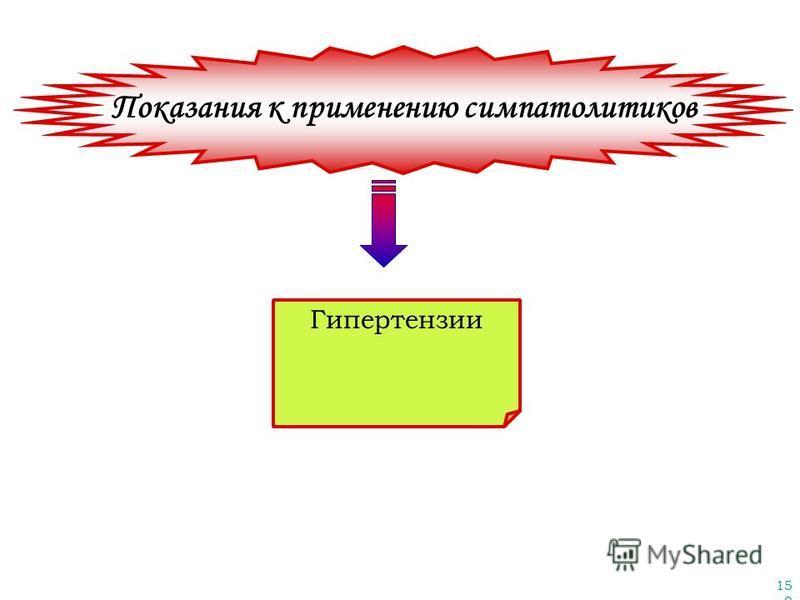 150 Показания к применению симпатолитиков Гипертензии