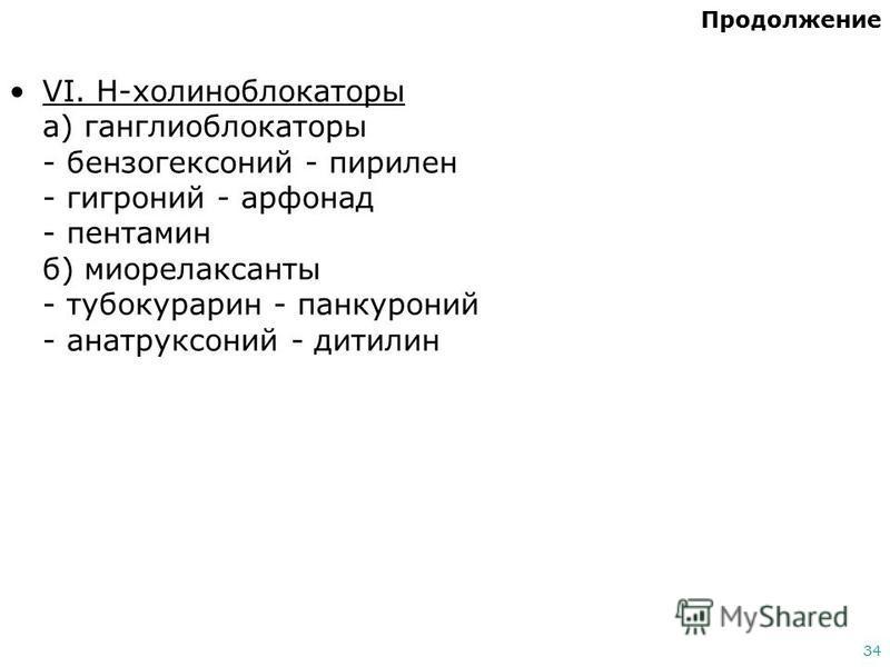 34 Продолжение VI. Н-холиноблокаторы а) ганглиоблокаторы - бензогексоний - пирилен - гигроний - арфонад - пентамин б) миорелаксанты - тубокурарин - панкуроний - анатруксоний - дитилин