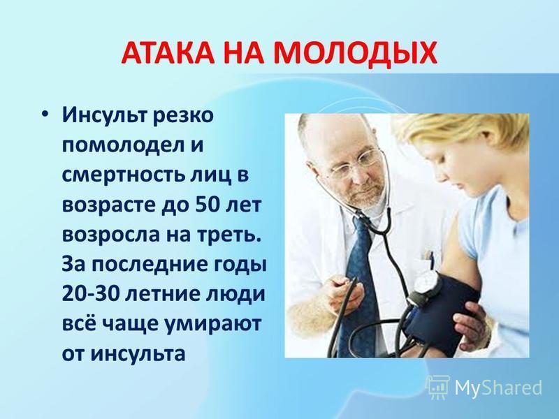 АТАКА НА МОЛОДЫХ Инсульт резко помолодел и смертность лиц в возрасте до 50 лет возросла на треть. За последние годы 20-30 летние люди всё чаще умирают от инсульта