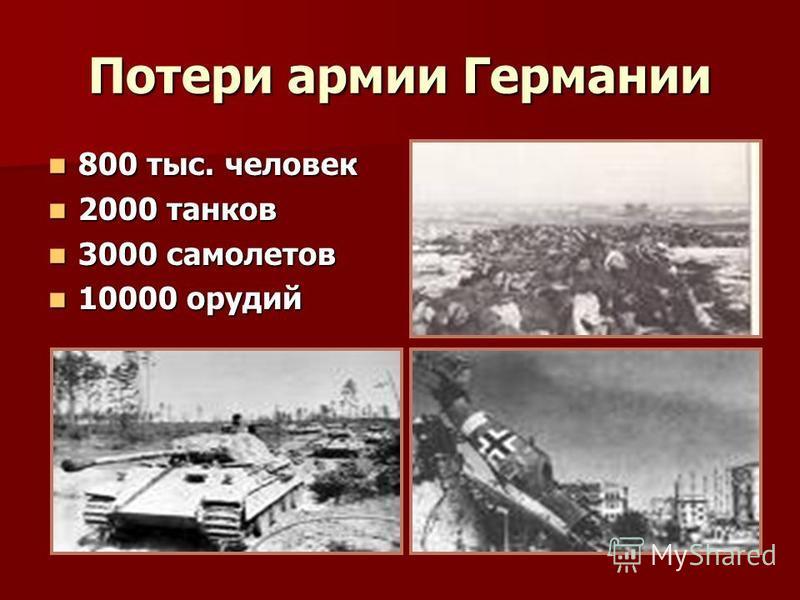 Потери армии Германии 800 тыс. человек 800 тыс. человек 2000 танков 2000 танков 3000 самолетов 3000 самолетов 10000 орудий 10000 орудий