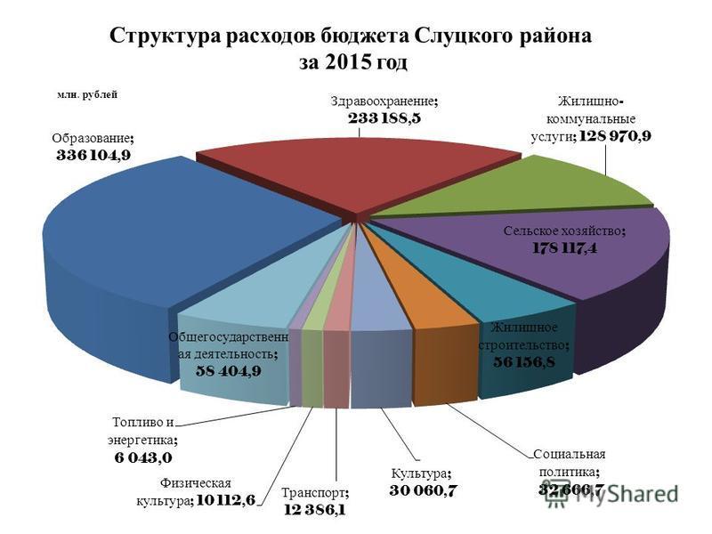 Структура расходов бюджета Слуцкого района за 2015 год