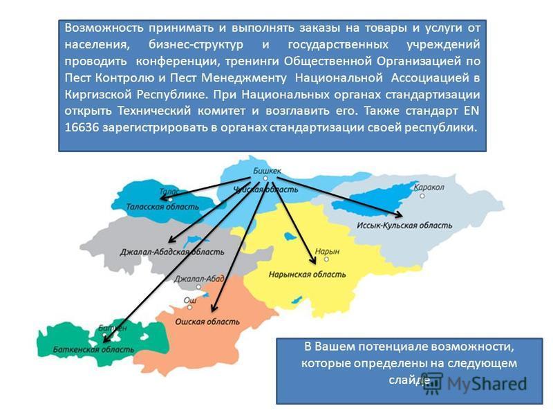 Возможность принимать и выполнять заказы на товары и услуги от населения, бизнес-структур и государственных учреждений проводить конференции, тренинги Общественной Организацией по Пест Контролю и Пест Менеджменту Национальной Ассоциацией в Киргизской