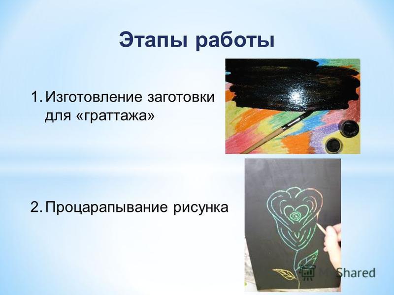 Этапы работы 1. Изготовление заготовки для «граттажа» 2. Процарапывание рисунка