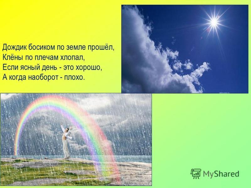 Дождик босиком по земле прошёл, Клёны по плечам хлопал, Если ясный день - это хорошо, А когда наоборот - плохо.