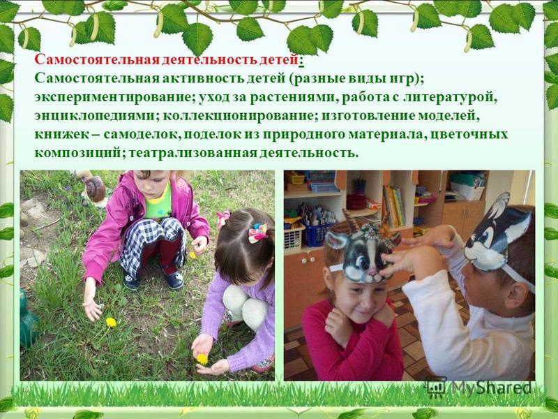 Самостоятельная деятельность детей: Самостоятельная активность детей (разные виды игр); экспериментирование; уход за растениями, работа с литературой, энциклопедиями; коллекционирование; изготовление моделей, книжек – самоделок, поделок из природного