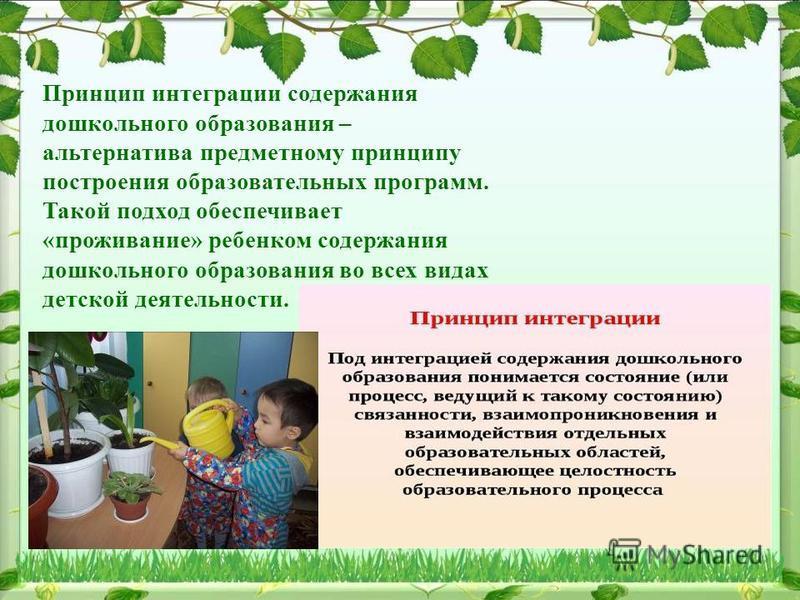 Принцип интеграции содержания дошкольного образования – альтернатива предметному принципу построения образовательных программ. Такой подход обеспечивает «проживание» ребенком содержания дошкольного образования во всех видах детской деятельности.
