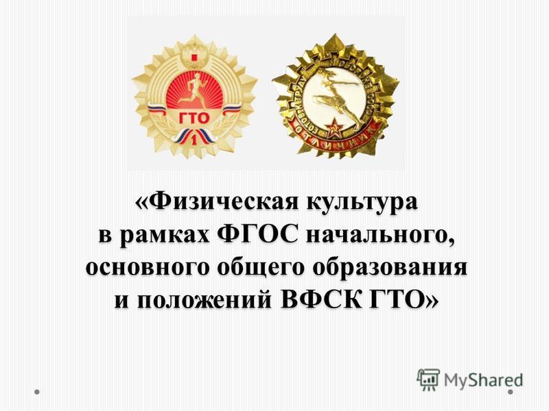 «Физическая культура в рамках ФГОС начального, основного общего образования и положений ВФСК ГТО»