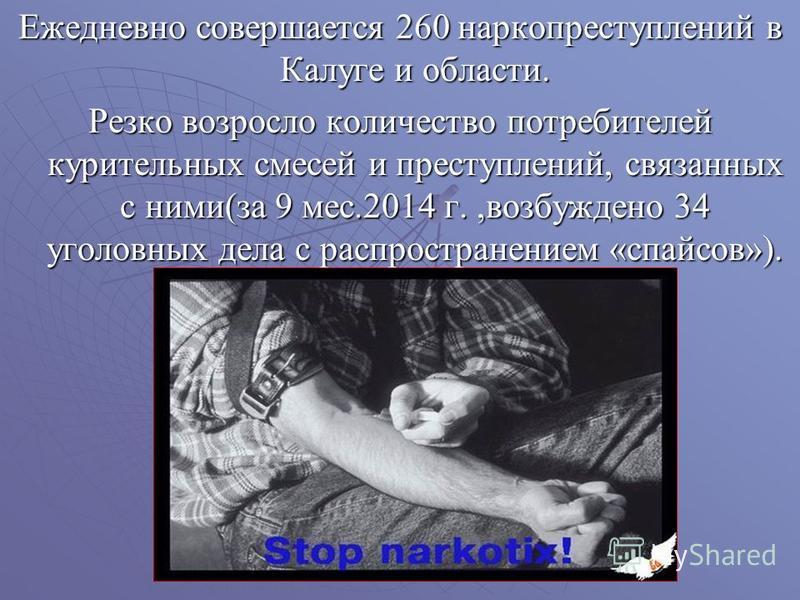 Ежедневно совершается 260 наркопреступлений в Калуге и области. Резко возросло количество потребителей курительных смесей и преступлений, связанных с ними(за 9 мес.2014 г.,возбуждено 34 уголовных дела с распространением «спайсов»).