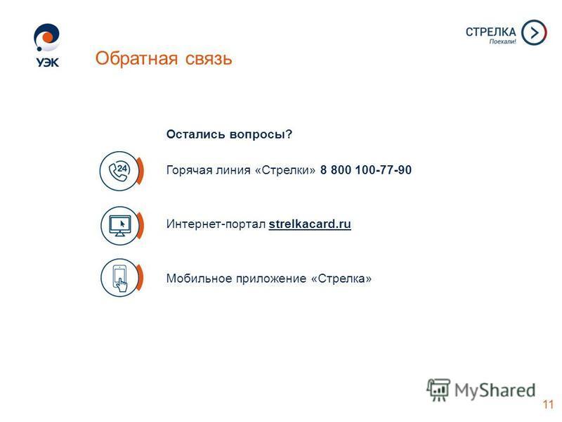 Остались вопросы? Горячая линия «Стрелки» 8 800 100-77-90 Интернет-портал strelkacard.ru Мобильное приложение «Стрелка» 11 Обратная связь