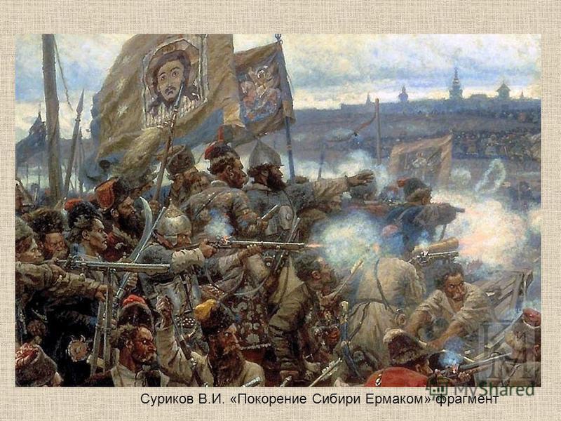 Суриков В.И. «Покорение Сибири Ермаком» фрагмент