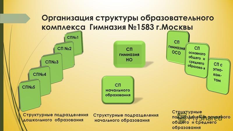 Организация структуры образовательного комплекса Гимназия 1583 г.Москвы Структурные подразделения дошкольного образования СП 3 Структурные подразделения начального образования Структурные подразделения основного общего и среднего образования СП 2 СП1