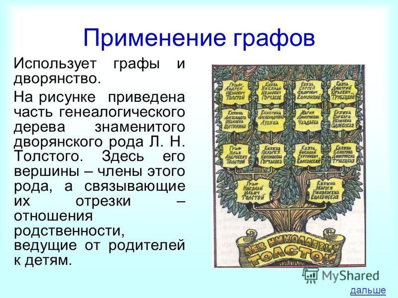 Применение графов Использует графы и дворянство. На рисунке приведена часть генеалогического дерева знаменитого дворянского рода Л. Н. Толстого. Здесь его вершины – члены этого рода, а связывающие их отрезки – отношения родственности, ведущие от роди