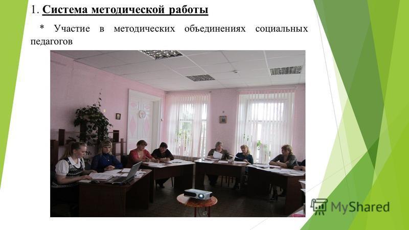 1. Система методической работы * Участие в методических объединениях социальных педагогов