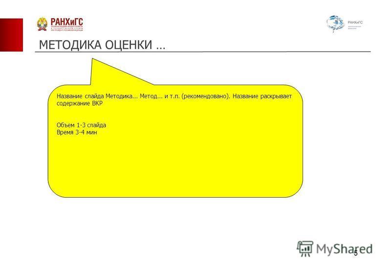 МЕТОДИКА ОЦЕНКИ … Название слайда Методика... Метод... и т.п. (рекомендовано). Название раскрывает содержание ВКР Объем 1-3 слайда Время 3-4 мин 5