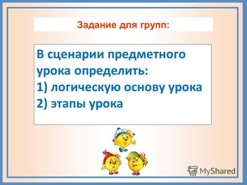 Задание для групп: В сценарии предметного урока определить: 1) логическую основу урока 2) этапы урока