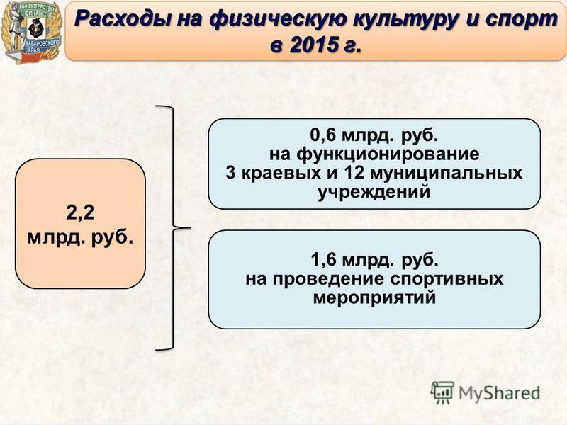 0,6 млрд. руб. на функционирование 3 краевых и 12 муниципальных учреждений 1,6 млрд. руб. на проведение спортивных мероприятий 2,2 млрд. руб.