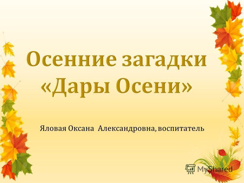 Яловая Оксана Александровна, воспитатель
