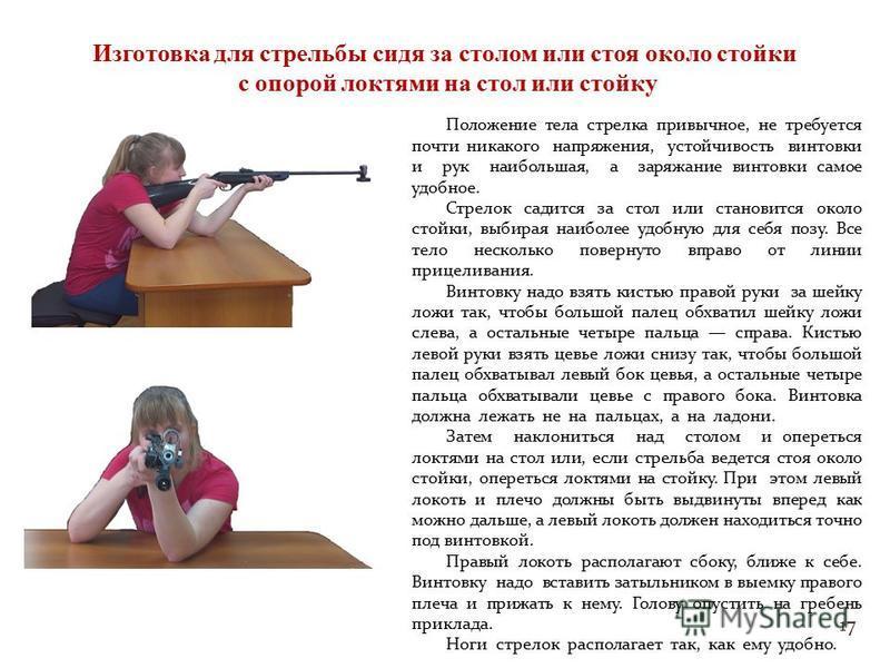 17 Изготовка для стрельбы сидя за столом или стоя около стойки с опорой локтями на стол или стойку Положение тела стрелка привычное, не требуется почти никакого напряжения, устойчивость винтовки и рук наибольшая, а заряжание винтовки самое удобное. С