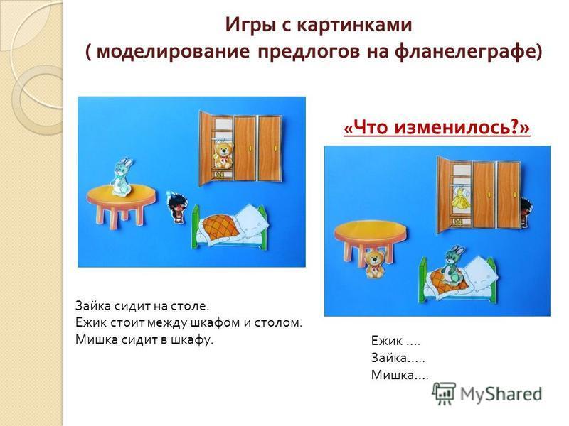 Игры с картинками ( моделирование предлогов на фланелеграфе ) Зайка сидит на столе. Ежик стоит между шкафом и столом. Мишка сидит в шкафу. « Что изменилось ?» Ежик …. Зайка ….. Мишка ….