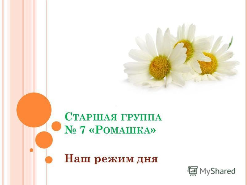 С ТАРШАЯ ГРУППА 7 «Р ОМАШКА » Наш режим дня