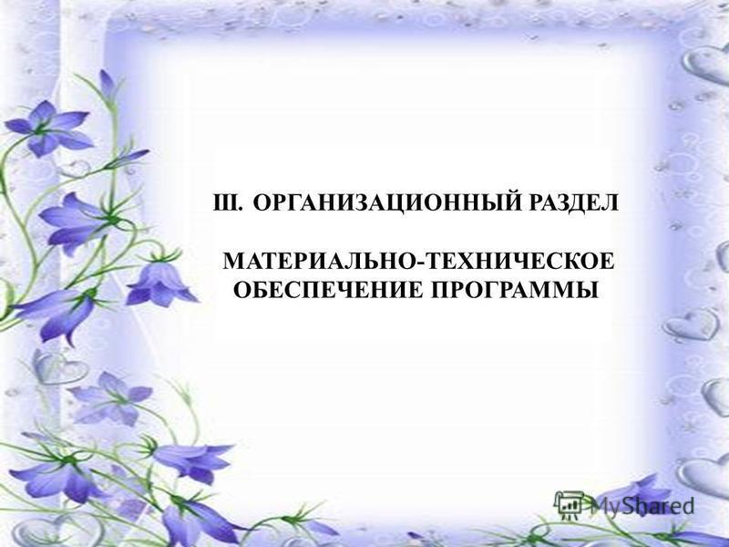 III. ОРГАНИЗАЦИОННЫЙ РАЗДЕЛ МАТЕРИАЛЬНО-ТЕХНИЧЕСКОЕ ОБЕСПЕЧЕНИЕ ПРОГРАММЫ