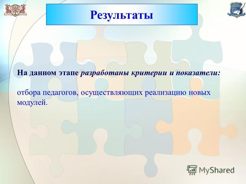 Результаты На данном этапе разработаны критерии и показатели: отбора педагогов, осуществляющих реализацию новых модулей.