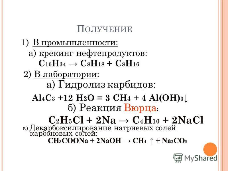 1)В промышленности: а) крекинг нефтепродуктов: C 16 H 34 C 8 H 18 + C 8 H 16 2) В лаборатории: П ОЛУЧЕНИЕ в) Декарбоксилирование натриевых солей карбоновых солей: СН 3 СООNa + 2NaОН СН 4 + Nа 2 СО 3 б) Реакция Вюрца : C 2 H 5 Cl + 2Na C 4 H 10 + 2NaC
