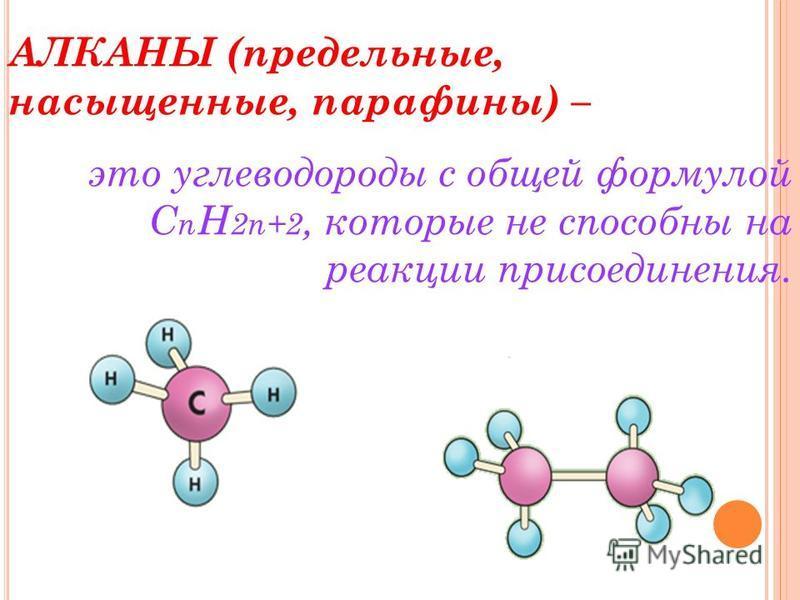 АЛКАНЫ (предельные, насыщенные, парафины) – это углеводороды с общей формулой C n H 2n+2, которые не способны на реакции присоединения.