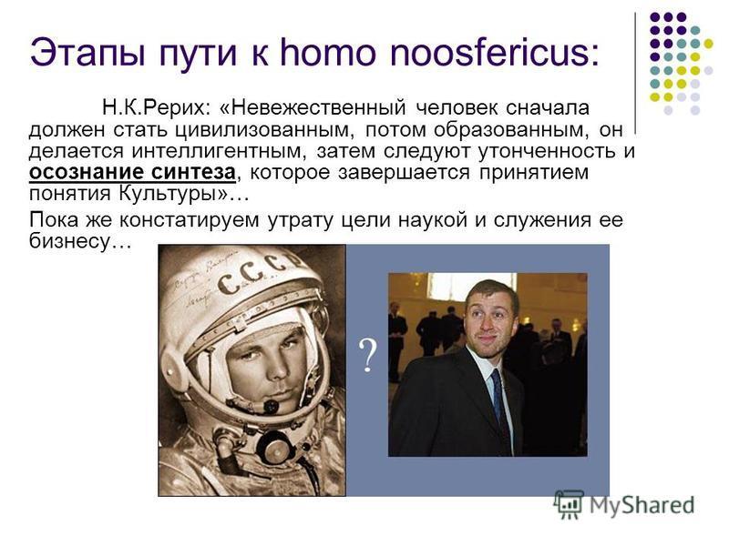 Этапы пути к homo noosfericus: Н.К.Рерих: «Невежественный человек сначала должен стать цивилизованным, потом образованным, он делается интеллигентным, затем следуют утонченность и осознание синтеза, которое завершается принятием понятия Культуры»… По