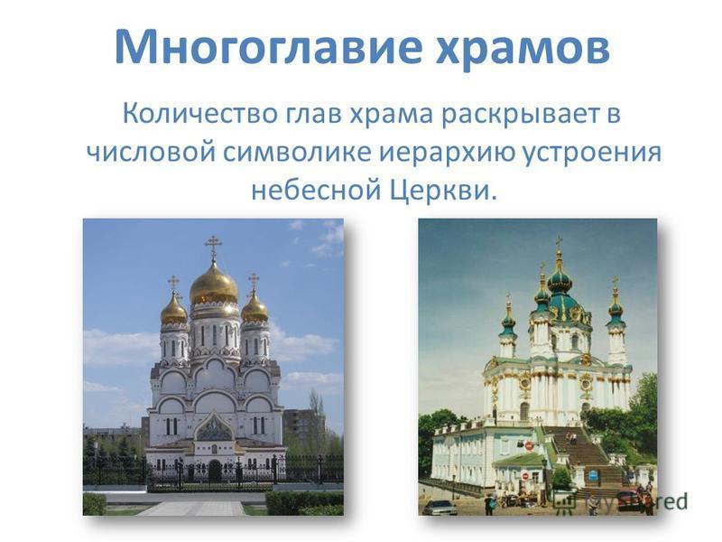 Многоглавие храмов Количество глав храма раскрывает в числовой символике иерархию устроения небесной Церкви.