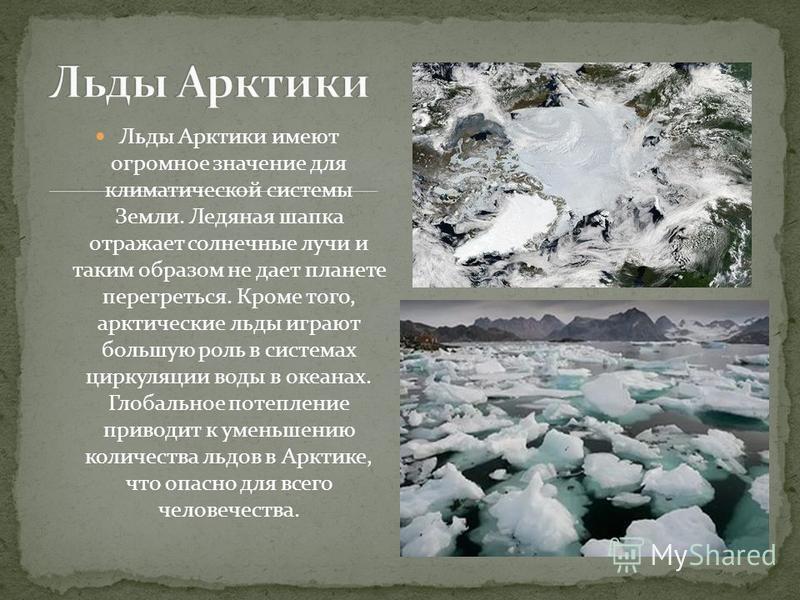 Льды Арктики имеют огромное значение для климатической системы Земли. Ледяная шапка отражает солнечные лучи и таким образом не дает планете перегреться. Кроме того, арктические льды играют большую роль в системах циркуляции воды в океанах. Глобальное