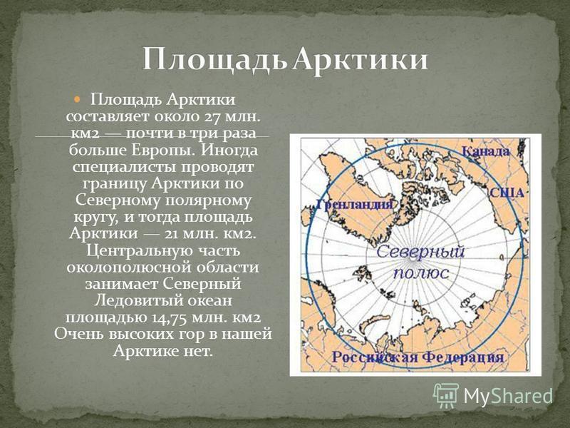 Площадь Арктики составляет около 27 млн. км 2 почти в три раза больше Европы. Иногда специалисты проводят границу Арктики по Северному полярному кругу, и тогда площадь Арктики 21 млн. км 2. Центральную часть околополюсной области занимает Северный Ле