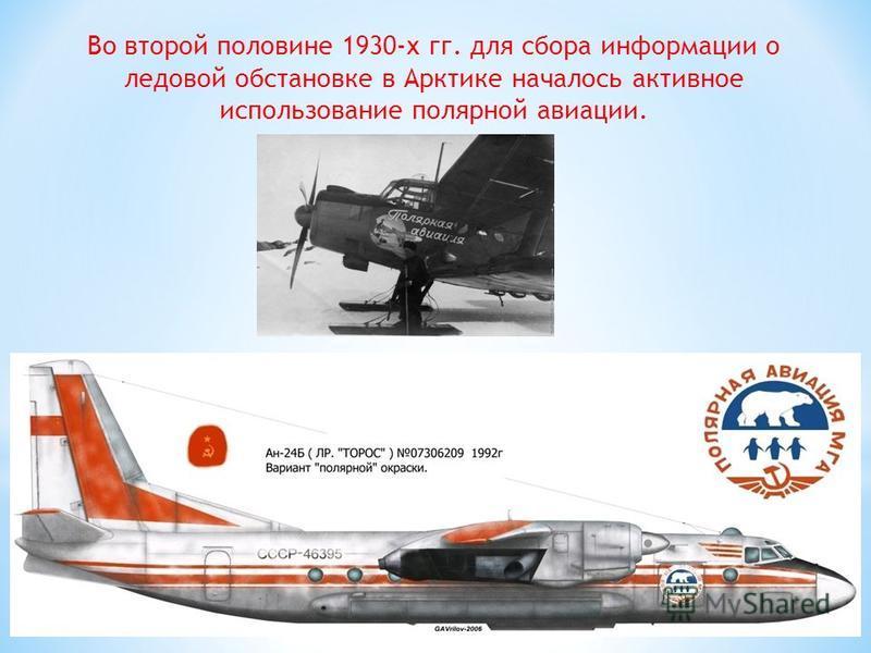 Во второй половине 1930-х гг. для сбора информации о ледовой обстановке в Арктике началось активное использование полярной авиации.