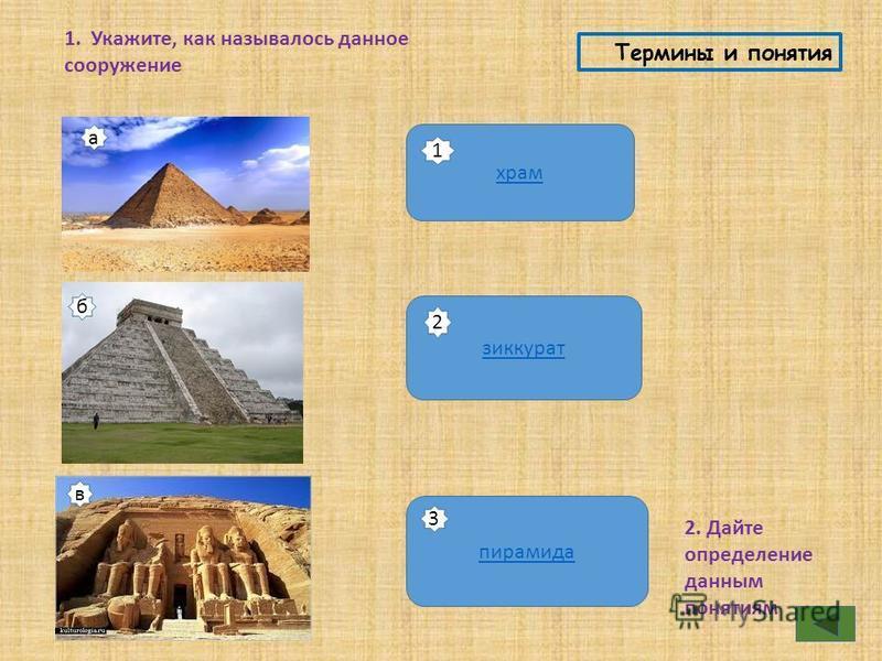 Термины и понятия 1. Укажите, как называлось данное сооружение храм зиккурат пирамида 2. Дайте определение данным понятиям а 1 б в 2 3