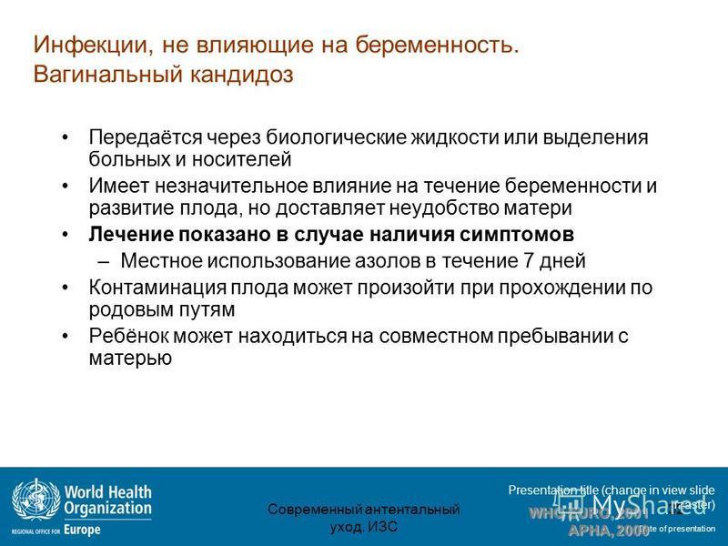 Presentation title (change in view slide master) Date of presentation Инфекции, не влияющие на беременность. Вагинальный кандидоз Передаётся через биологические жидкости или выделения больных и носителей Имеет незначительное влияние на течение береме