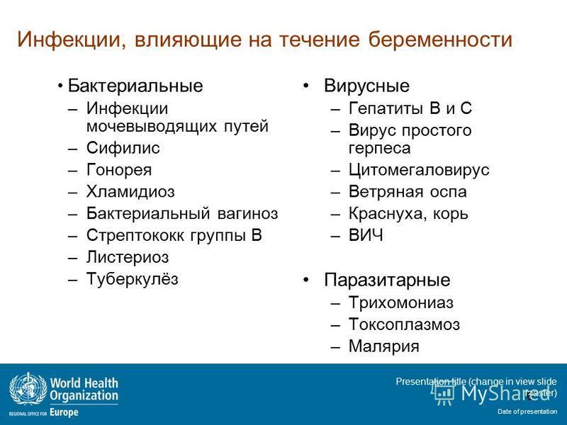 Presentation title (change in view slide master) Date of presentation Инфекции, влияющие на течение беременности Бактериальные –Инфекции мочевыводящих путей –Сифилис –Гонорея –Хламидиоз –Бактериальный вагиноз –Стрептококк группы B –Листериоз –Туберку