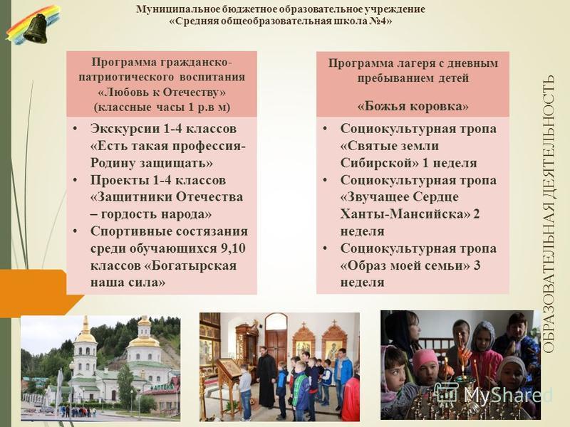 Муниципальное бюджетное образовательное учреждение «Средняя общеобразовательная школа 4» Социокультурная тропа «Святые земли Сибирской» 1 неделя Социокультурная тропа «Звучащее Сердце Ханты-Мансийска» 2 неделя Социокультурная тропа «Образ моей семьи»