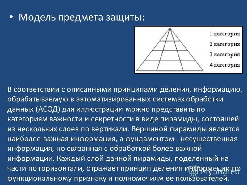 Модель предмета защиты: В соответствии с описанными принципами деления, информацию, обрабатываемую в автоматизированных системах обработки данных (АСОД) для иллюстрации можно представить по категориям важности и секретности в виде пирамиды, состоящей