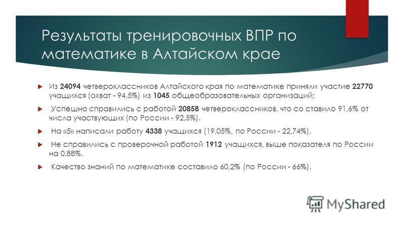 Результаты тренировочных ВПР по математике в Алтайском крае Из 24094 четвероклассников Алтайского края по математике приняли участие 22770 учащихся (охват - 94,5%) из 1045 общеобразовательных организаций; Успешно справились с работой 20858 четверокл