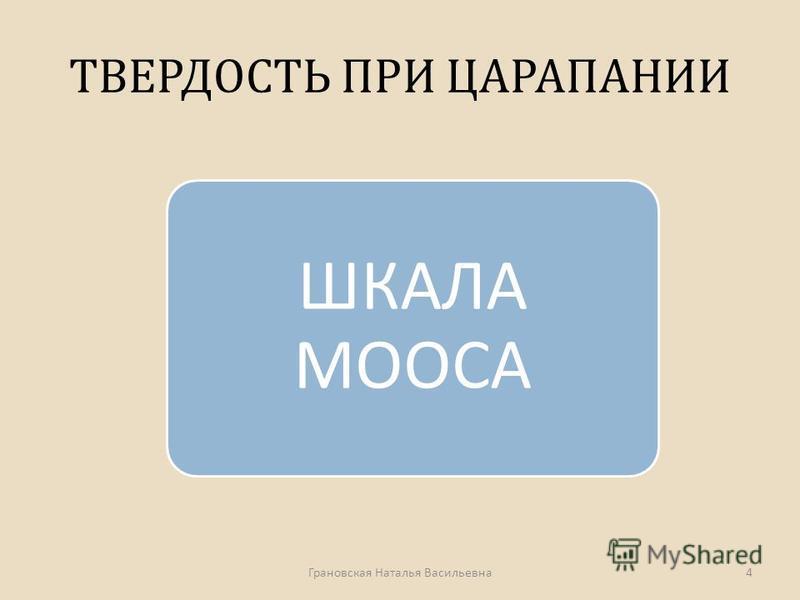 ТВЕРДОСТЬ ПРИ ЦАРАПАНИИ ШКАЛА МООСА Грановская Наталья Васильевна 4