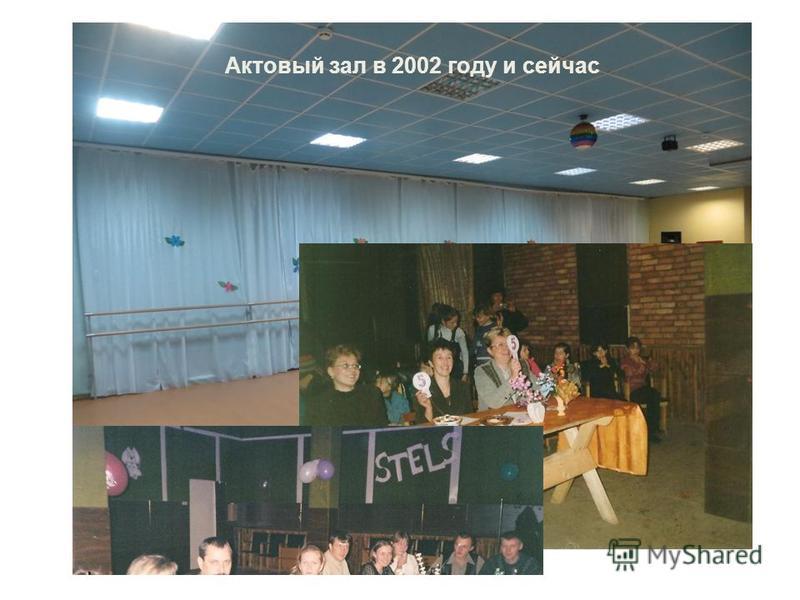 Актовый зал в 2002 году и сейчас