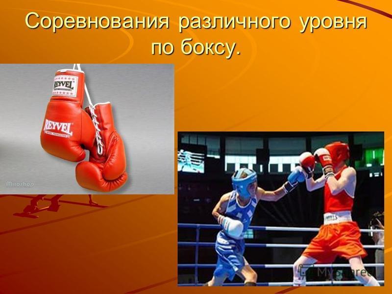 Соревнования различного уровня по боксу.